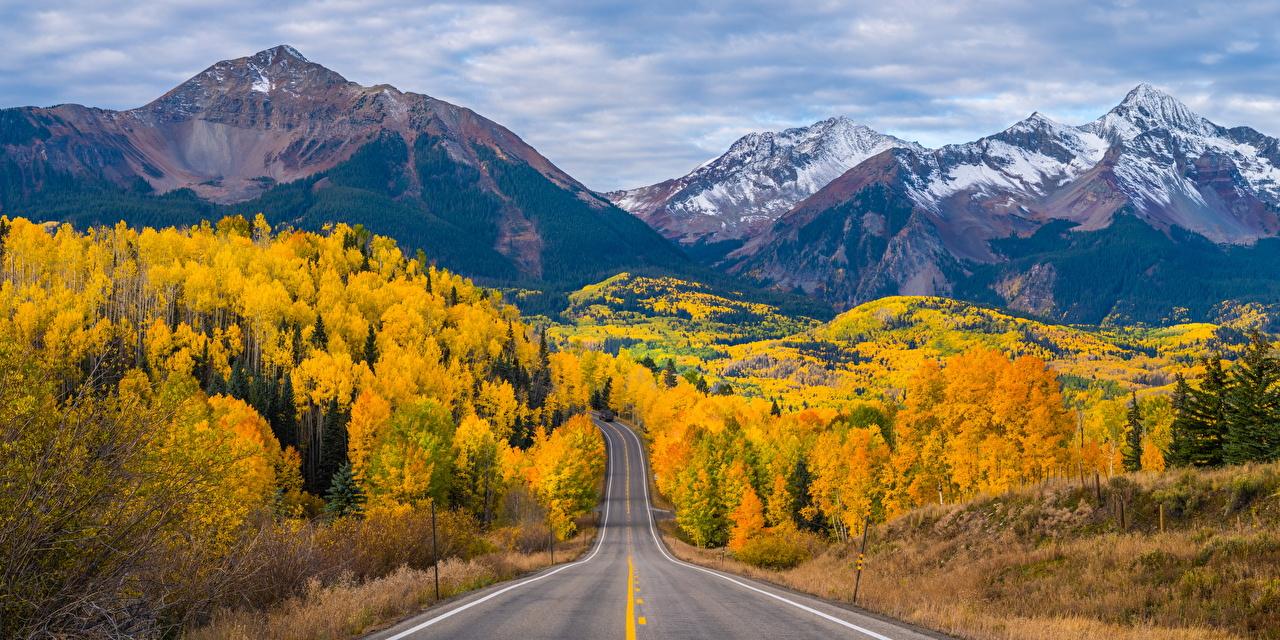 Обои для рабочего стола США Colorado гора Осень Природа Пейзаж Дороги штаты америка Горы осенние