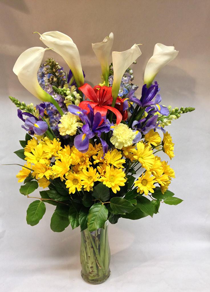 Фотография букет Каллы лилия Ирисы цветок Гвоздики Хризантемы Ваза  для мобильного телефона Букеты Лилии белокрыльник ирис Цветы гвоздика вазе вазы