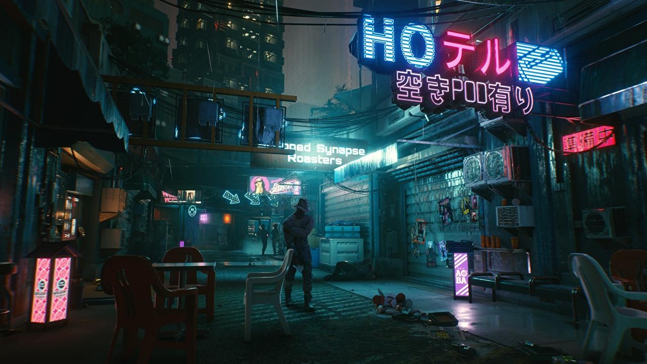 Фотографии Cyberpunk 2077 улиц компьютерная игра Ночь киберпанк 2077 Игры улице Улица ночью в ночи Ночные
