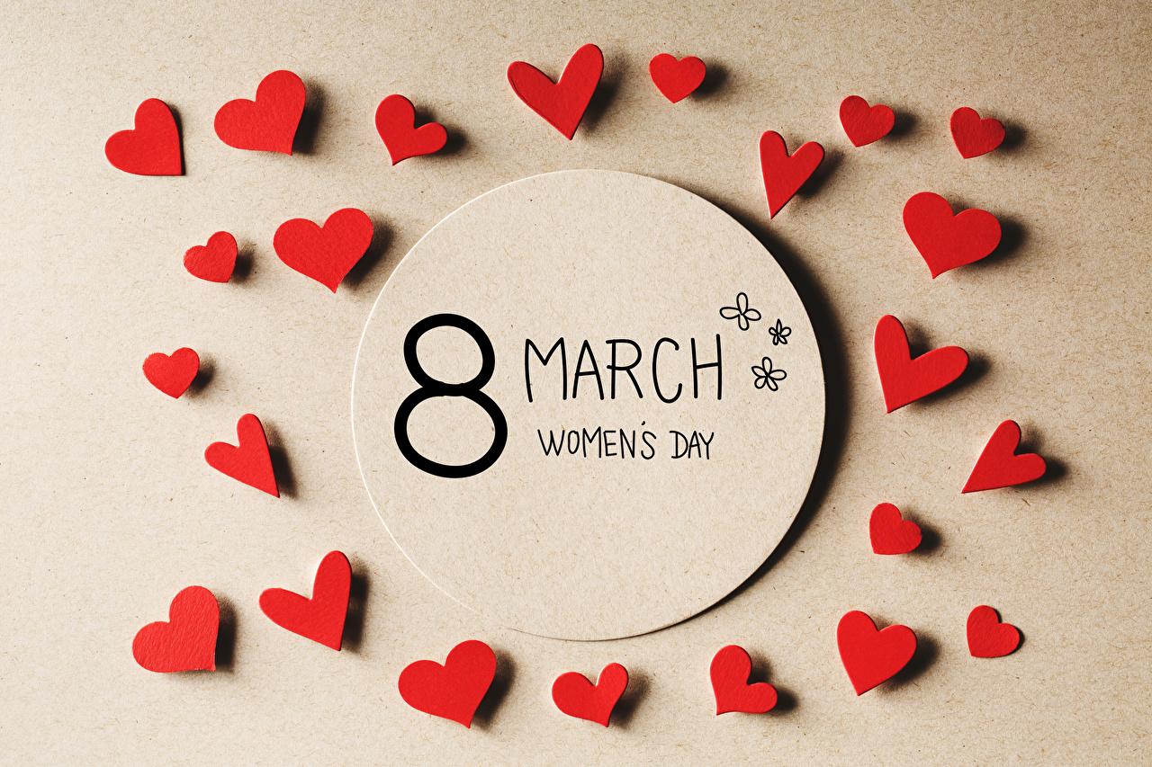 Фото Международный женский день Английский сердечко Цветной фон 8 марта инглийские английская серце сердца Сердце
