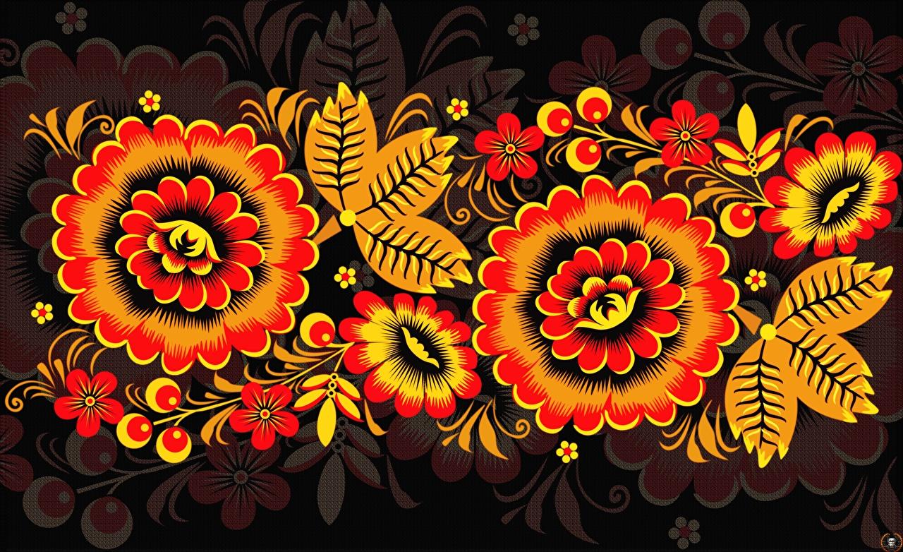 Фотография Текстура Русские Khokhloma Цветы российские цветок
