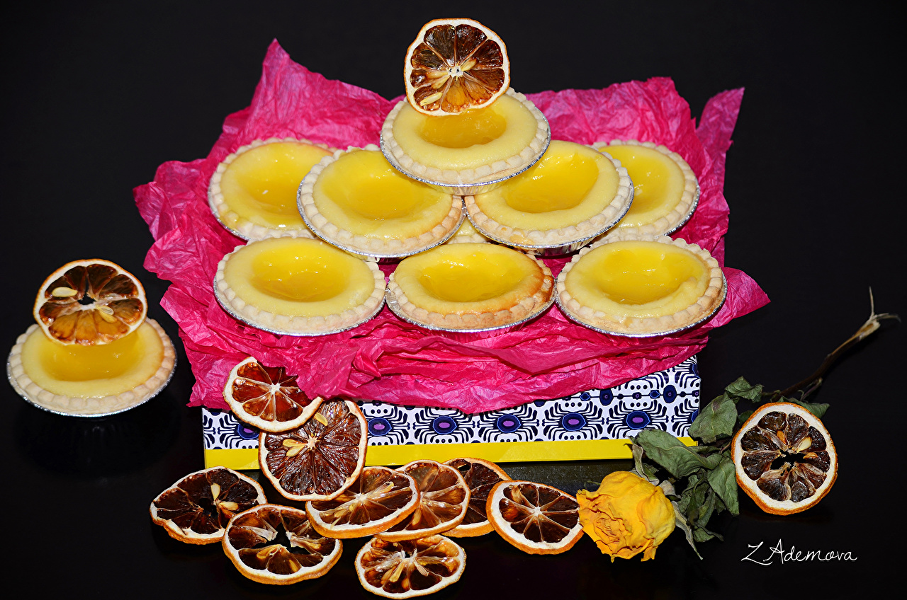 Фотография Лимоны Еда Печенье Выпечка Пища Продукты питания