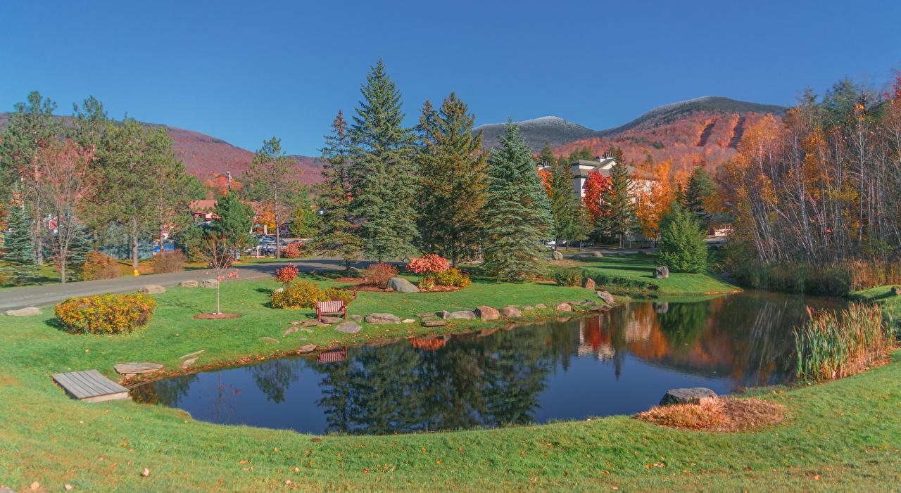 Картинка США Vermont, New England, Montpelier Осень парк Пруд Камни Трава город штаты америка осенние Парки траве Камень Города