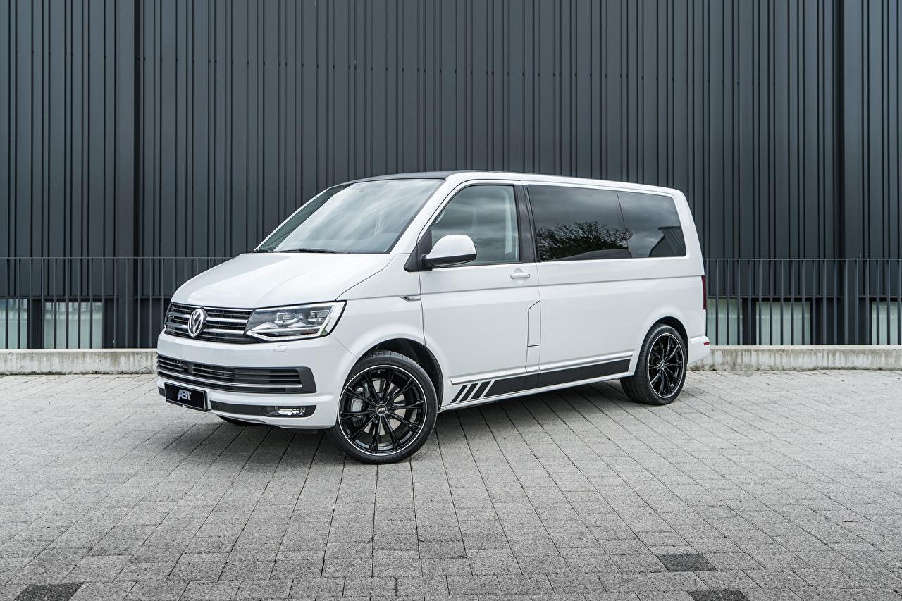 Обои для рабочего стола Volkswagen 2018-20 ABT Multivan Минивэн белая автомобиль Фольксваген Белый белые белых авто машины машина Автомобили