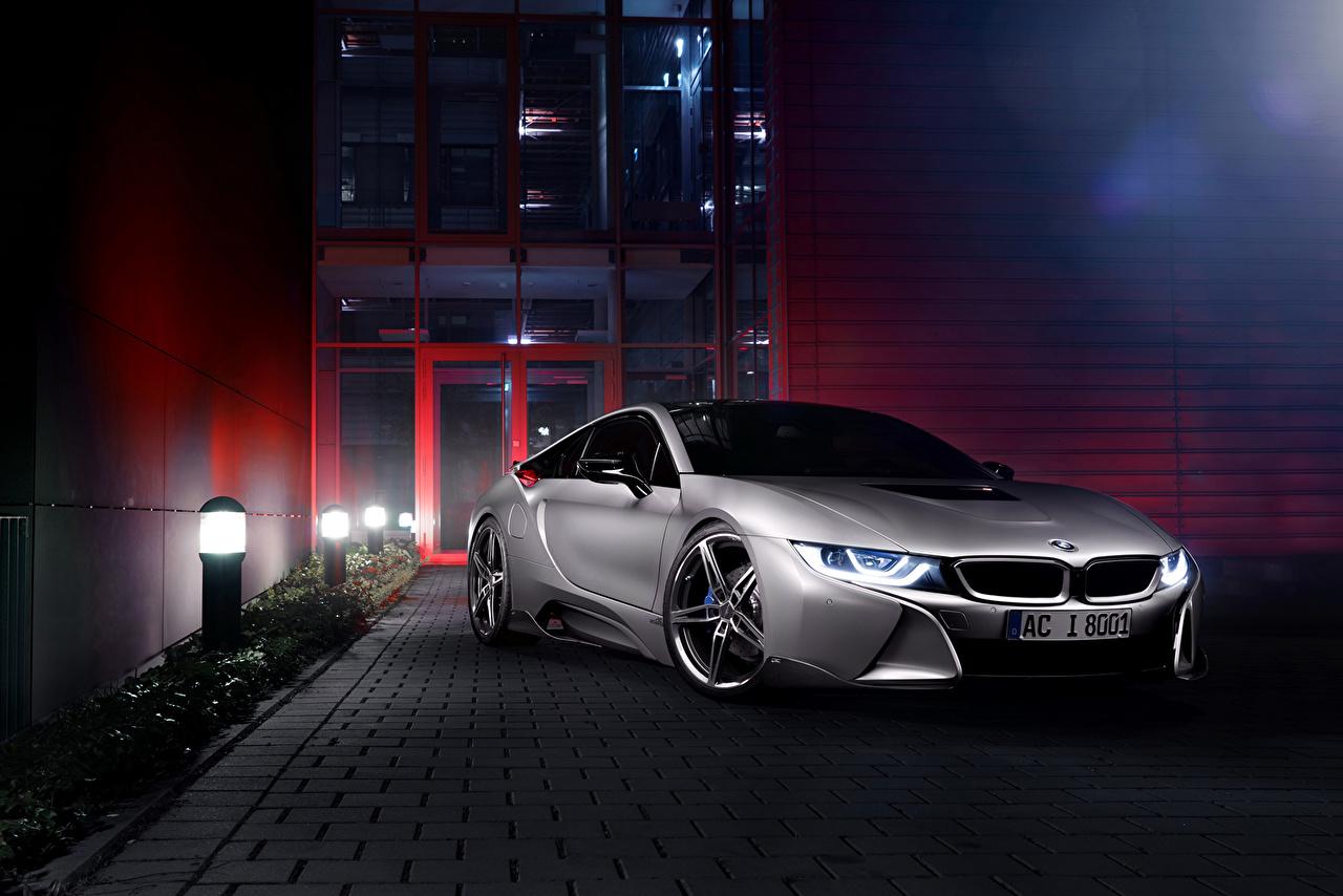 Обои для рабочего стола БМВ 2015 i8 (AC Schnitzer) роскошная серебряный машины BMW дорогие дорогой дорогая люксовые Роскошные роскошный серебряная серебристая Серебристый авто машина автомобиль Автомобили