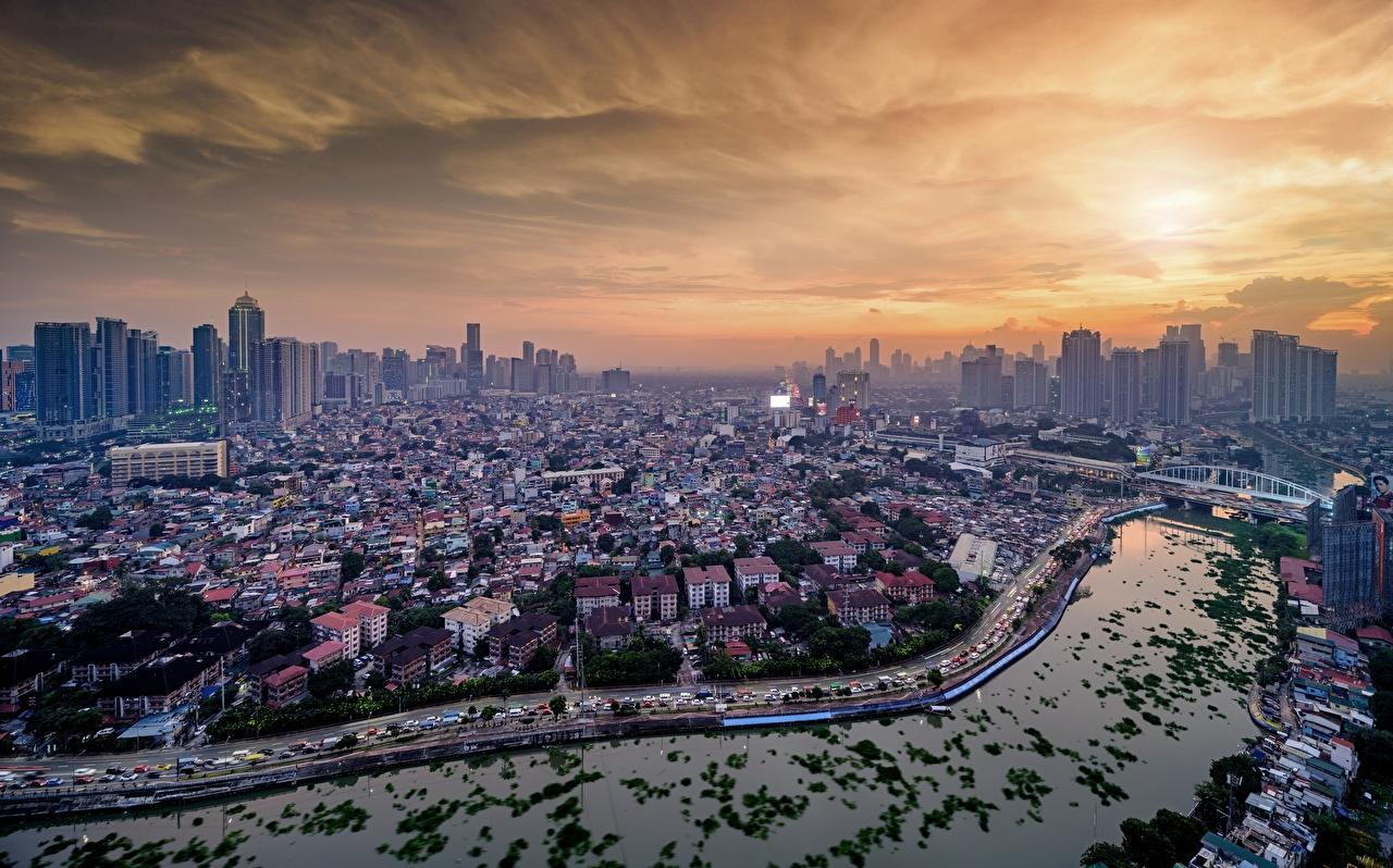 Картинка Филиппины Manila, Pasig River мост Реки Сверху Города Здания Мосты река речка Дома город