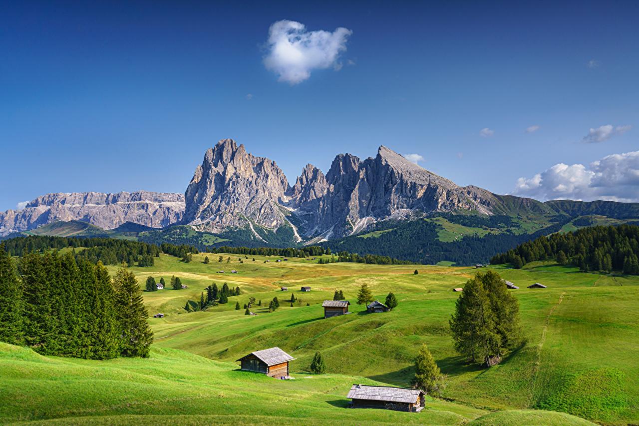 Фото альп Италия South Tryol Долина Горы Природа Пейзаж Альпы гора