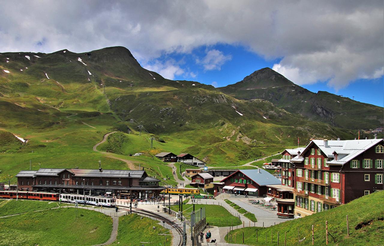 Картинки альп Швейцария Jungfrau гора Природа Поезда Железные дороги Альпы Горы