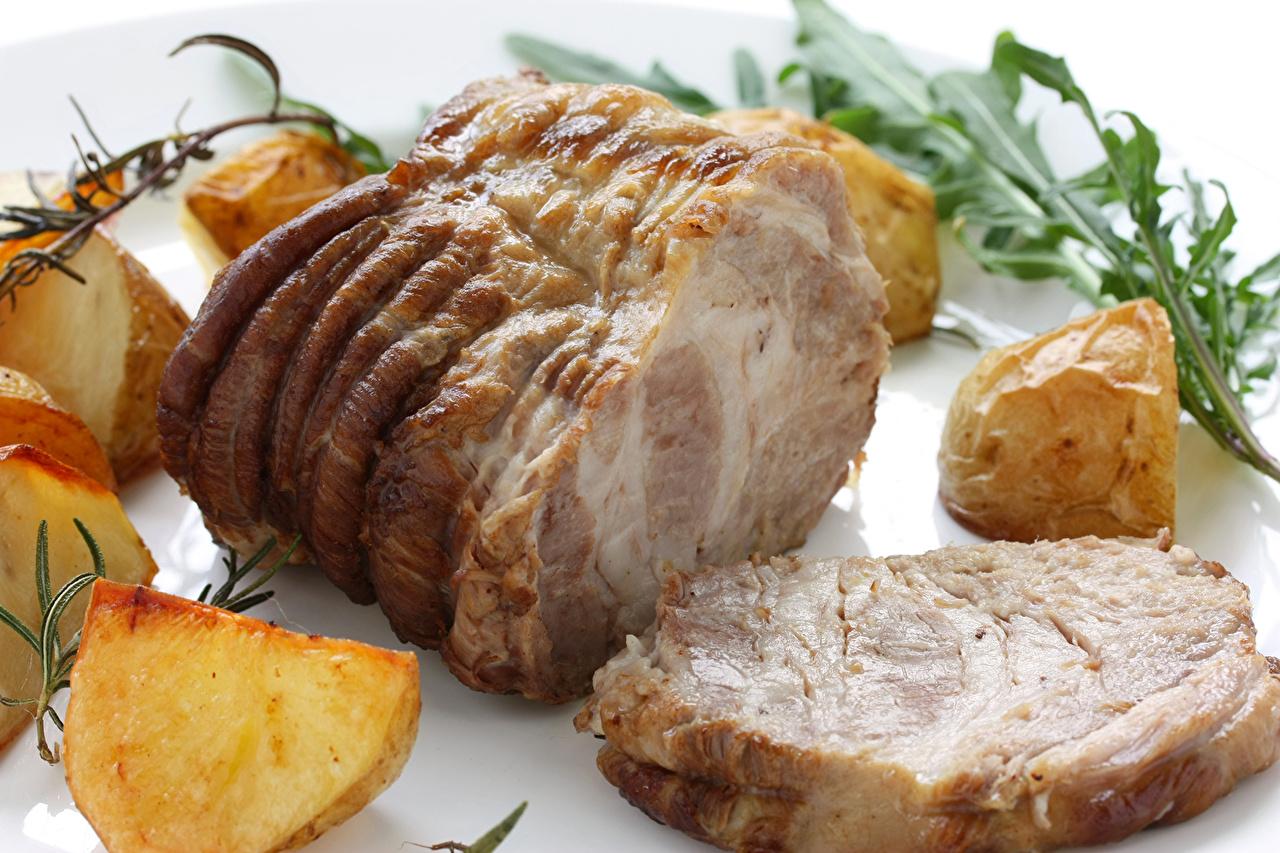 Обои для рабочего стола картошка Ветчина Продукты питания Мясные продукты Картофель Еда Пища