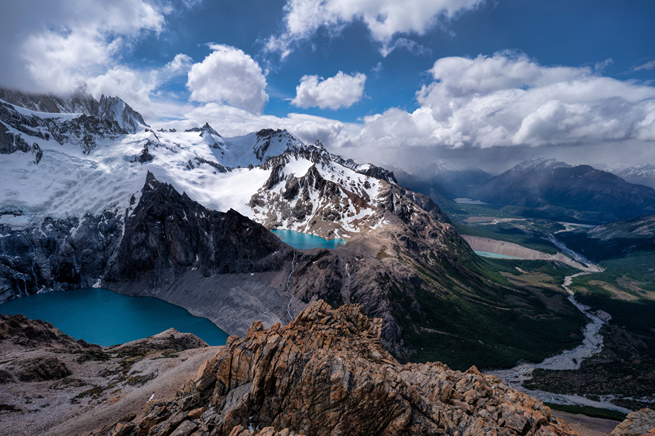 Картинки Аргентина Fitz Roy, Patagonia Горы Утес Природа снеге Сверху облачно гора Скала скале скалы Снег снега снегу Облака облако