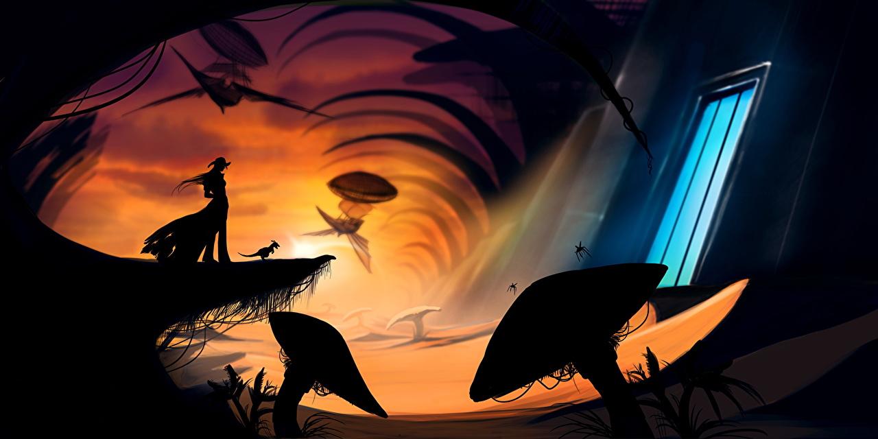 Картинка силуэта Фэнтези Фантастический мир Силуэт силуэты Фантастика