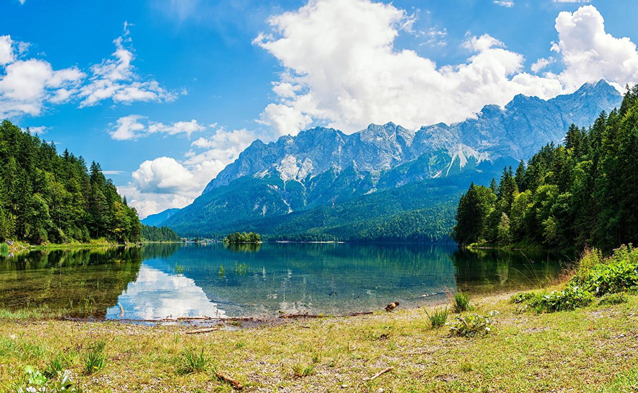 Фотография гора Природа Леса Озеро Пейзаж облачно Горы лес облако Облака