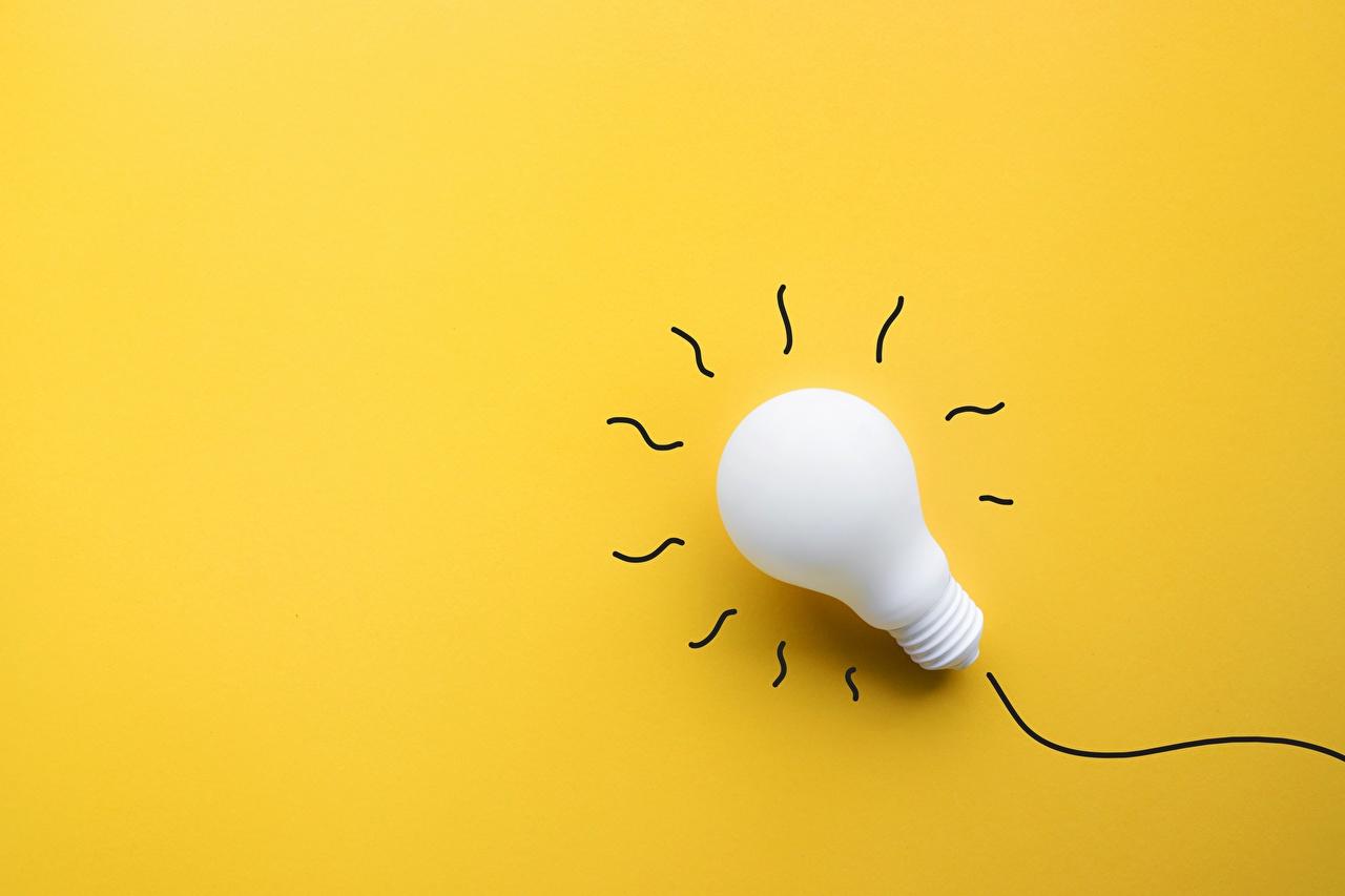 Картинка Лампочка Цветной фон лампа накаливания