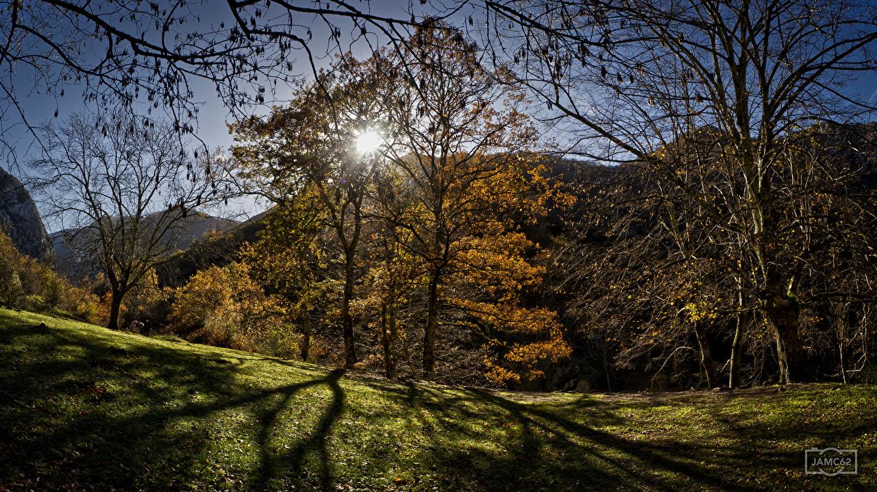 Фотографии Испания Asturias гора Осень Солнце Природа деревьев Горы солнца осенние дерево дерева Деревья