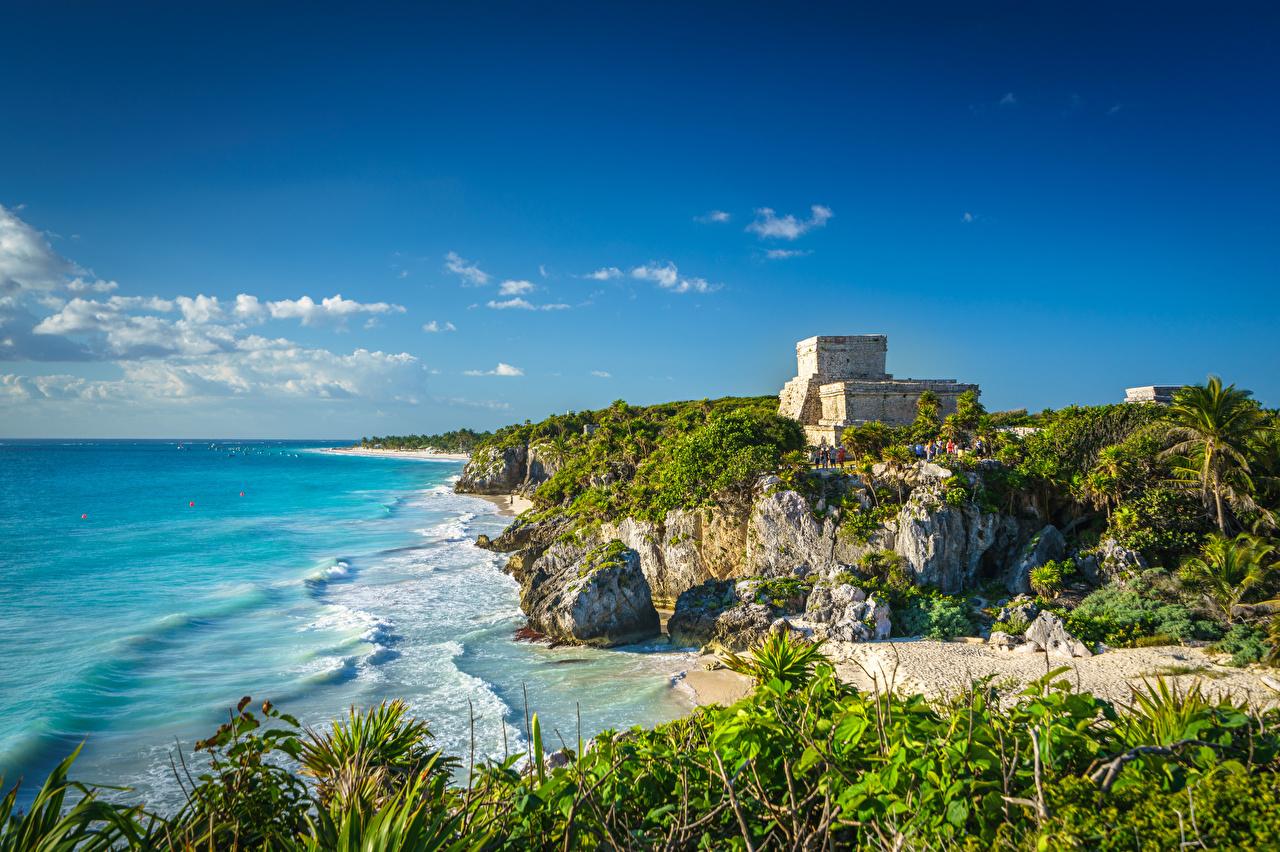 Фотографии Мексика Tulum, Quintana Roo Природа Небо Развалины берег Руины Побережье
