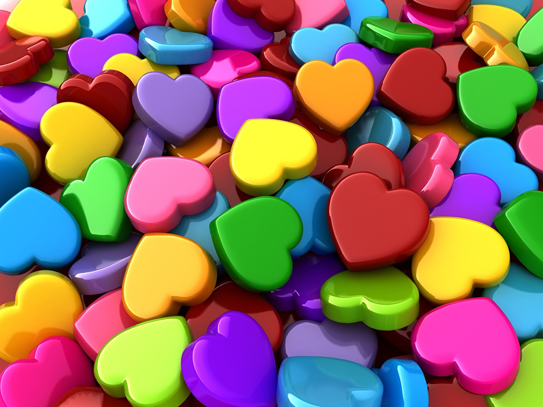 Картинка Текстура серце Разноцветные 3D Графика Сердце сердца сердечко