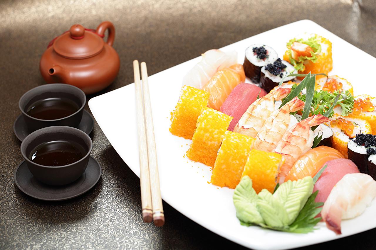Фотографии Еда Суши Палочки для еды Пища Продукты питания суси