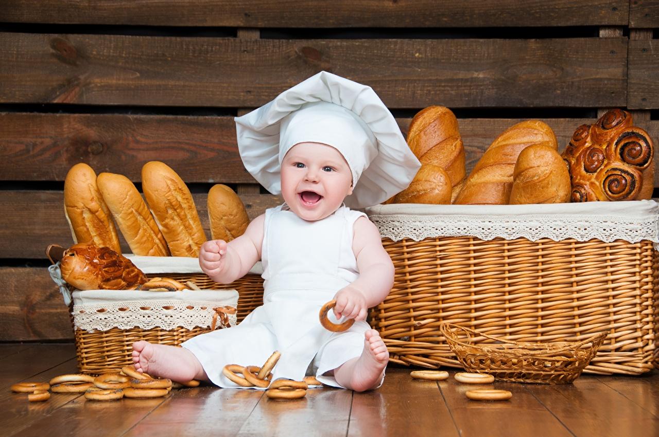 Картинка грудной ребёнок Ребёнок Шляпа Хлеб Повар Младенцы Дети