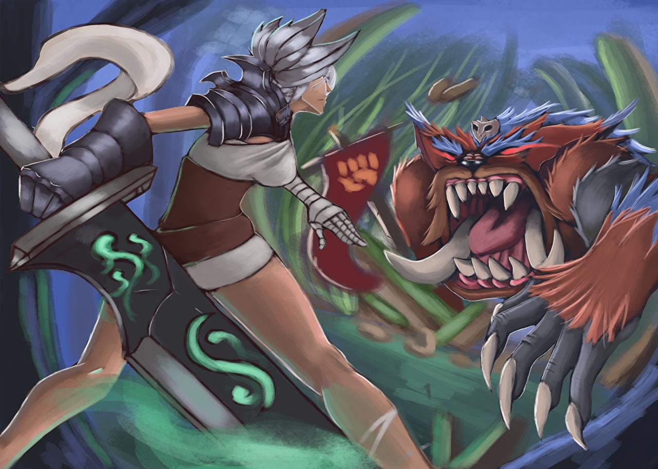 Картинки League of Legends Мечи Монстры Фантастика Игры Битвы LOL Чудовище Фэнтези сражения