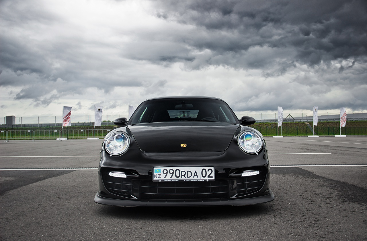 Картинки Порше 911 Almaty Black Front черных авто Спереди Porsche черная черные Черный машина машины Автомобили автомобиль