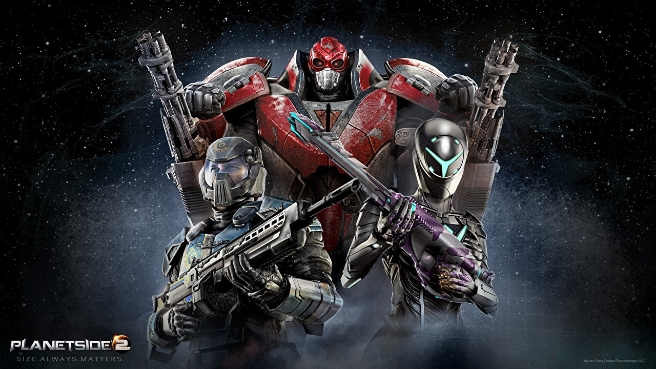 Картинки PlanetSide 2 пулемет Воители Автоматы компьютерная игра Пулеметы воин воины автомат автоматом Игры