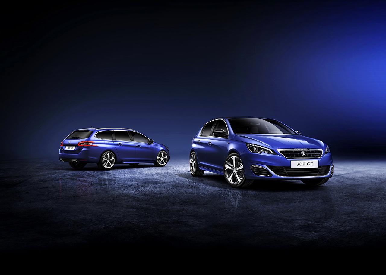 Обои для рабочего стола Пежо 2014 308 GT SW 2 голубая авто Металлик Peugeot два две Двое вдвоем Голубой голубые голубых машина машины Автомобили автомобиль