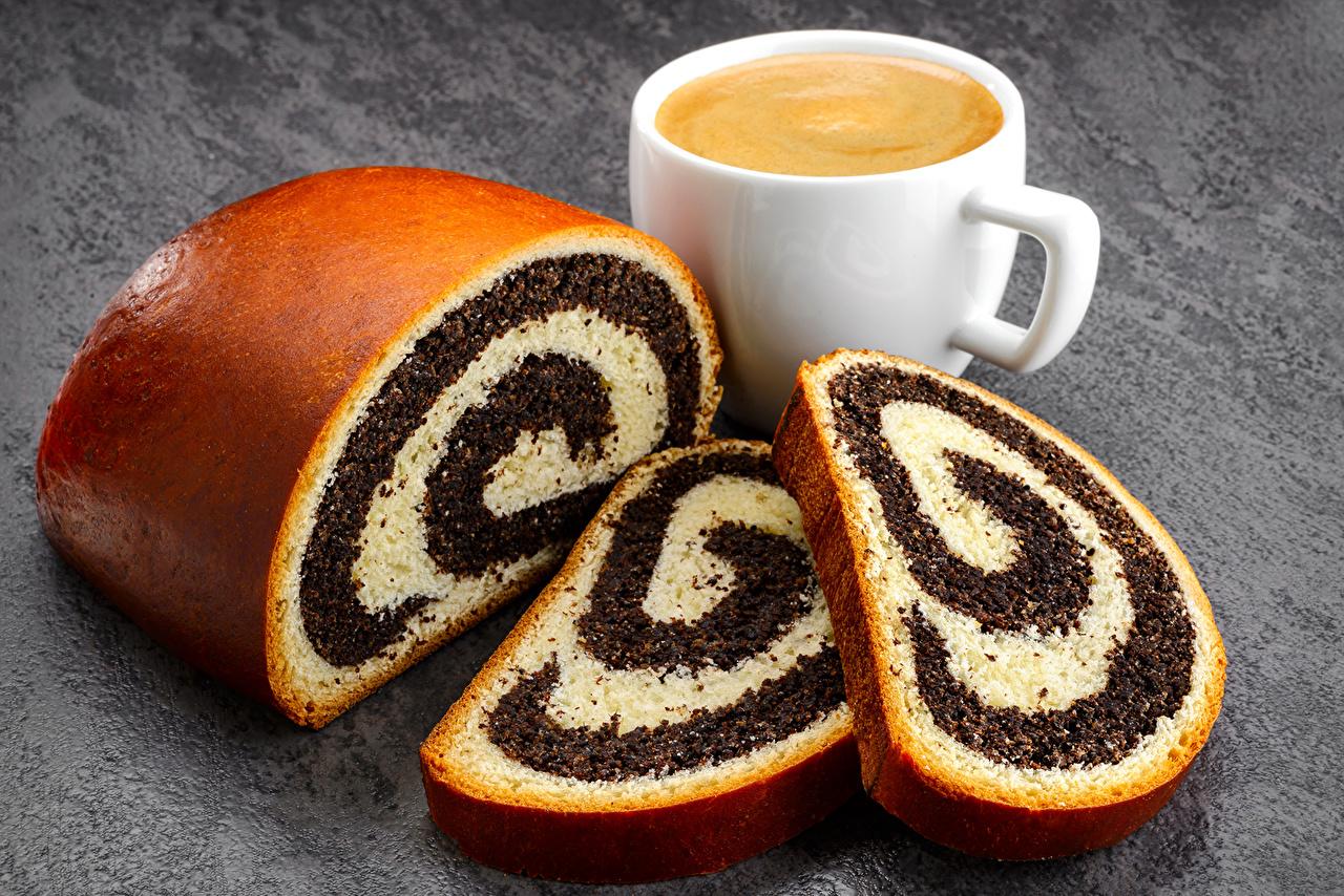 Картинки Пирог Рулет Кофе Чашка Продукты питания Выпечка Еда Пища чашке