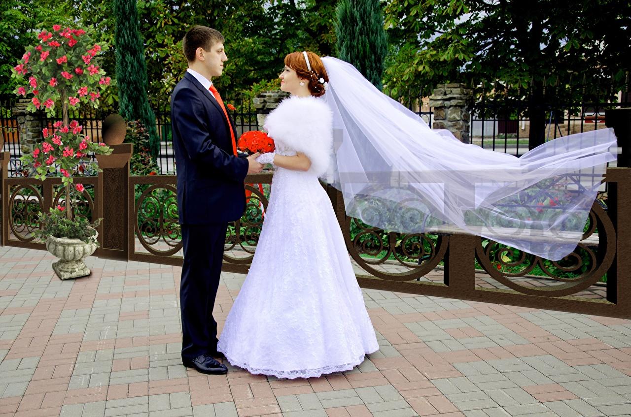 Фотографии Жених Невеста Свадьба Мужчины Влюбленные пары Двое Девушки Платье любовники 2 вдвоем