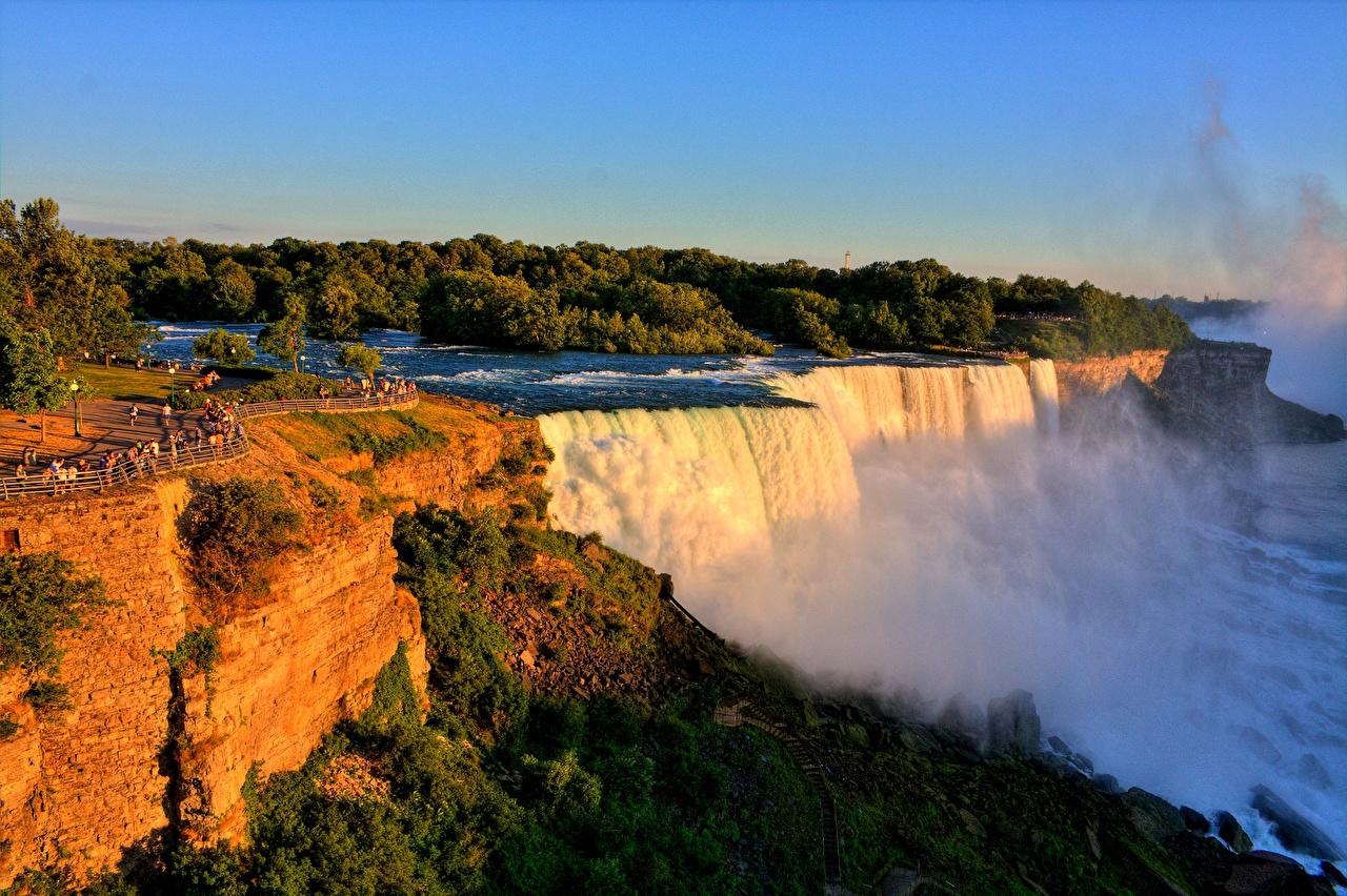 Фотографии Нью-Йорк штаты Niagara Falls скале Природа Водопады США америка Утес скалы Скала