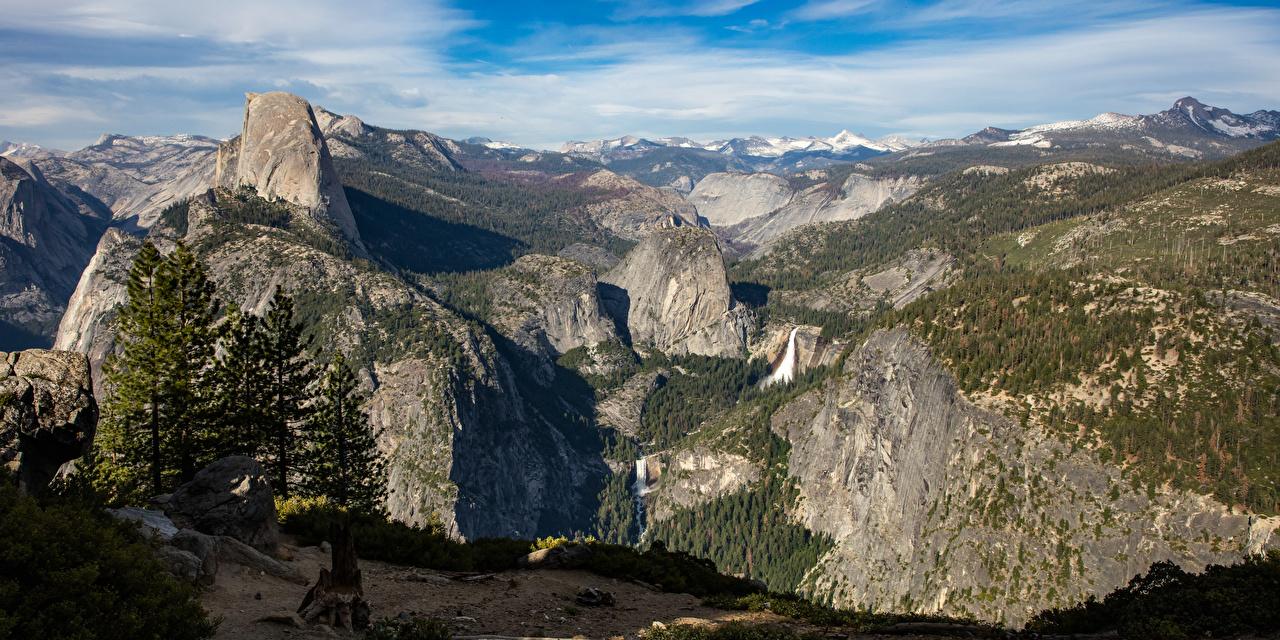 Фото Йосемити калифорнии США Горы скале Природа Парки Пейзаж Калифорния штаты америка гора Утес Скала скалы парк
