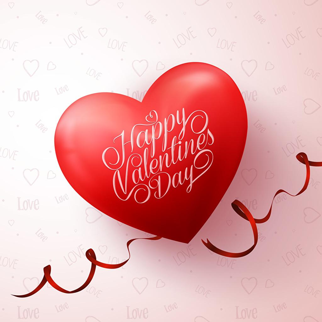 Фотографии День святого Валентина Английский Сердце Красный Лента Цветной фон