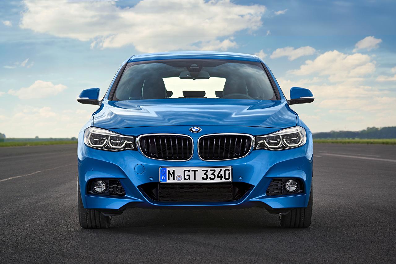 Обои для рабочего стола БМВ F34 Gran Turismo Синий Спереди автомобиль BMW синяя синие синих авто машины машина Автомобили