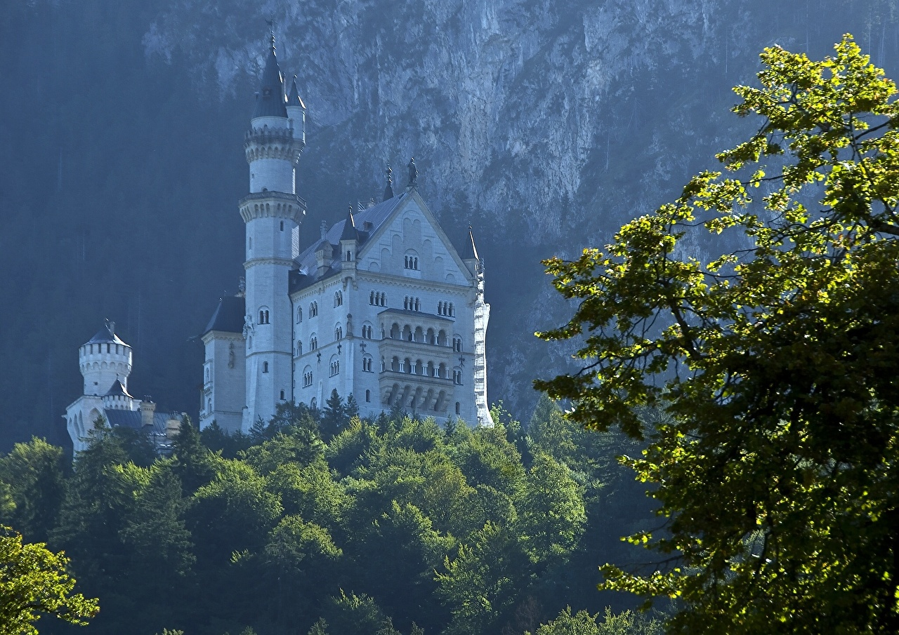 Фотография Бавария Нойшванштайн Германия Замки город замок Города