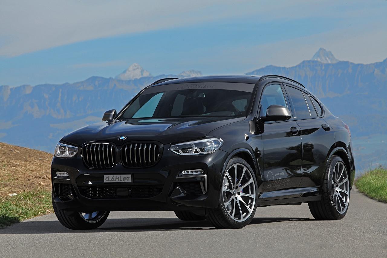 Картинка BMW dÄHLer X4 M40d черные авто БМВ черных Черный черная машина машины автомобиль Автомобили