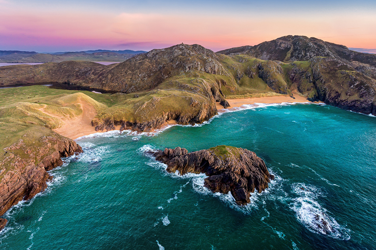 Фотография Ирландия Donegal, Boyeeghter Bay Океан Скала Природа берег Утес скалы скале Побережье
