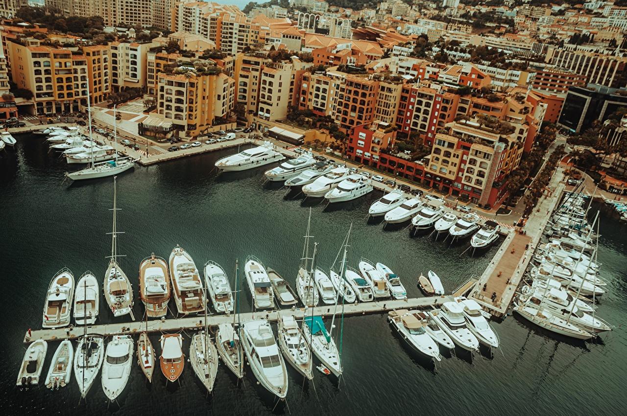 Фото Монте-Карло Монако Яхта Сверху Причалы Города Пирсы Пристань город