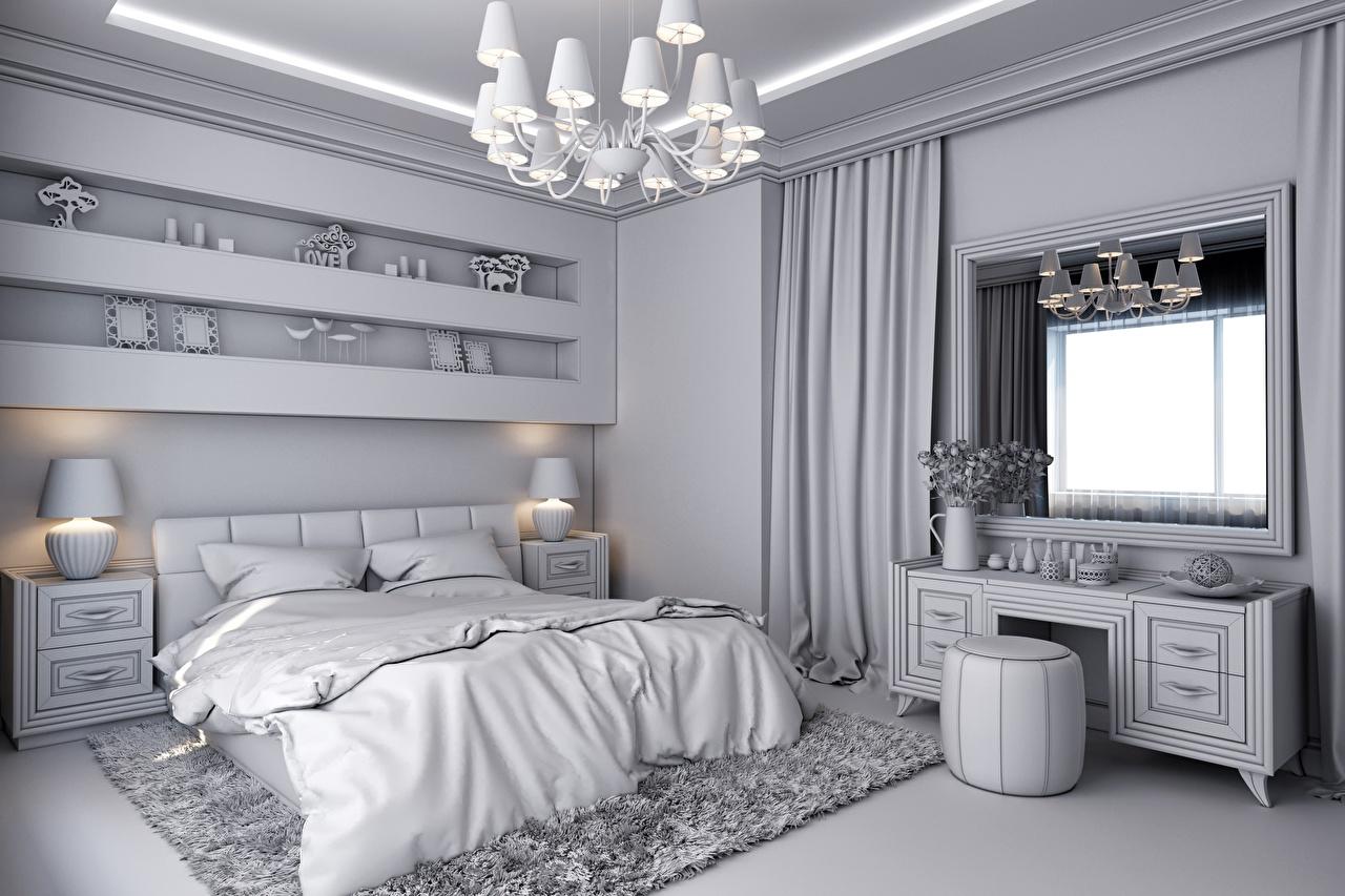 Обои для рабочего стола Спальня 3д Интерьер Окно Лампа Люстра Кровать дизайна спальни спальне 3D Графика ламп окна лампы люстры кровати постель Дизайн