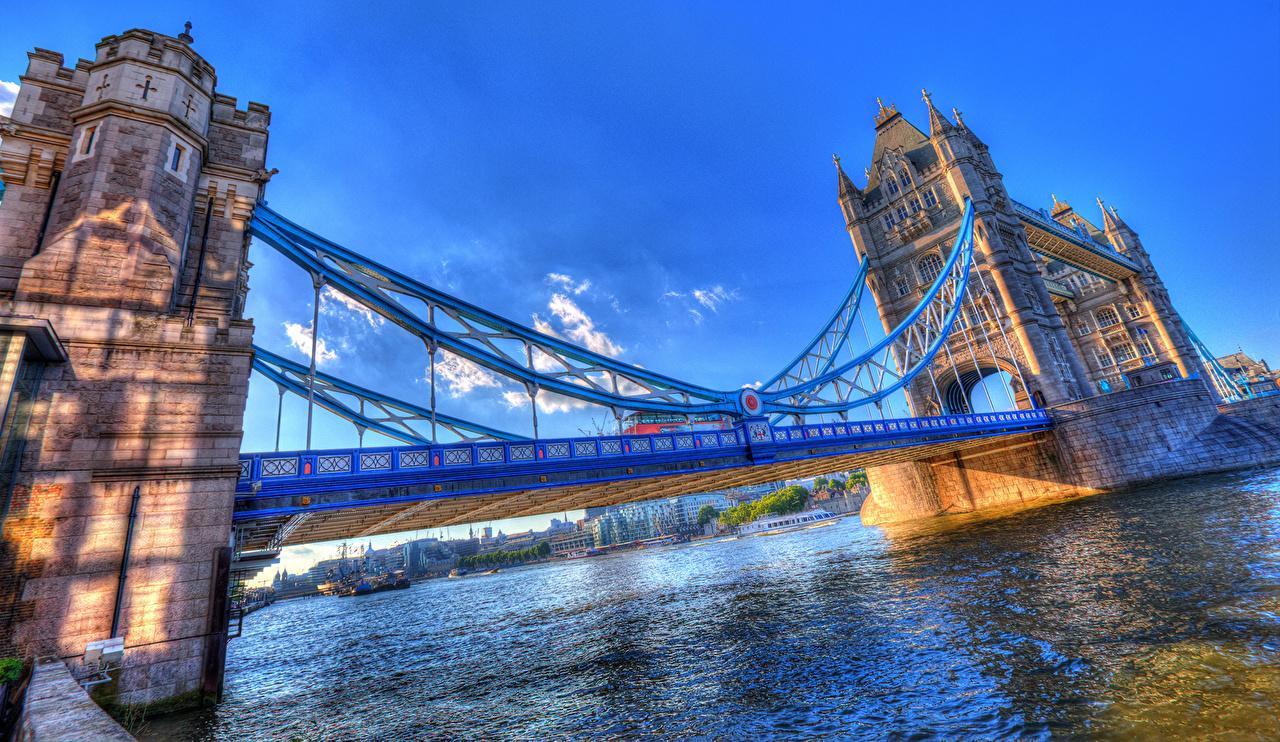 Фотографии лондоне Англия Tower Bridge HDRI Мосты Небо речка Города Лондон HDR мост река Реки город