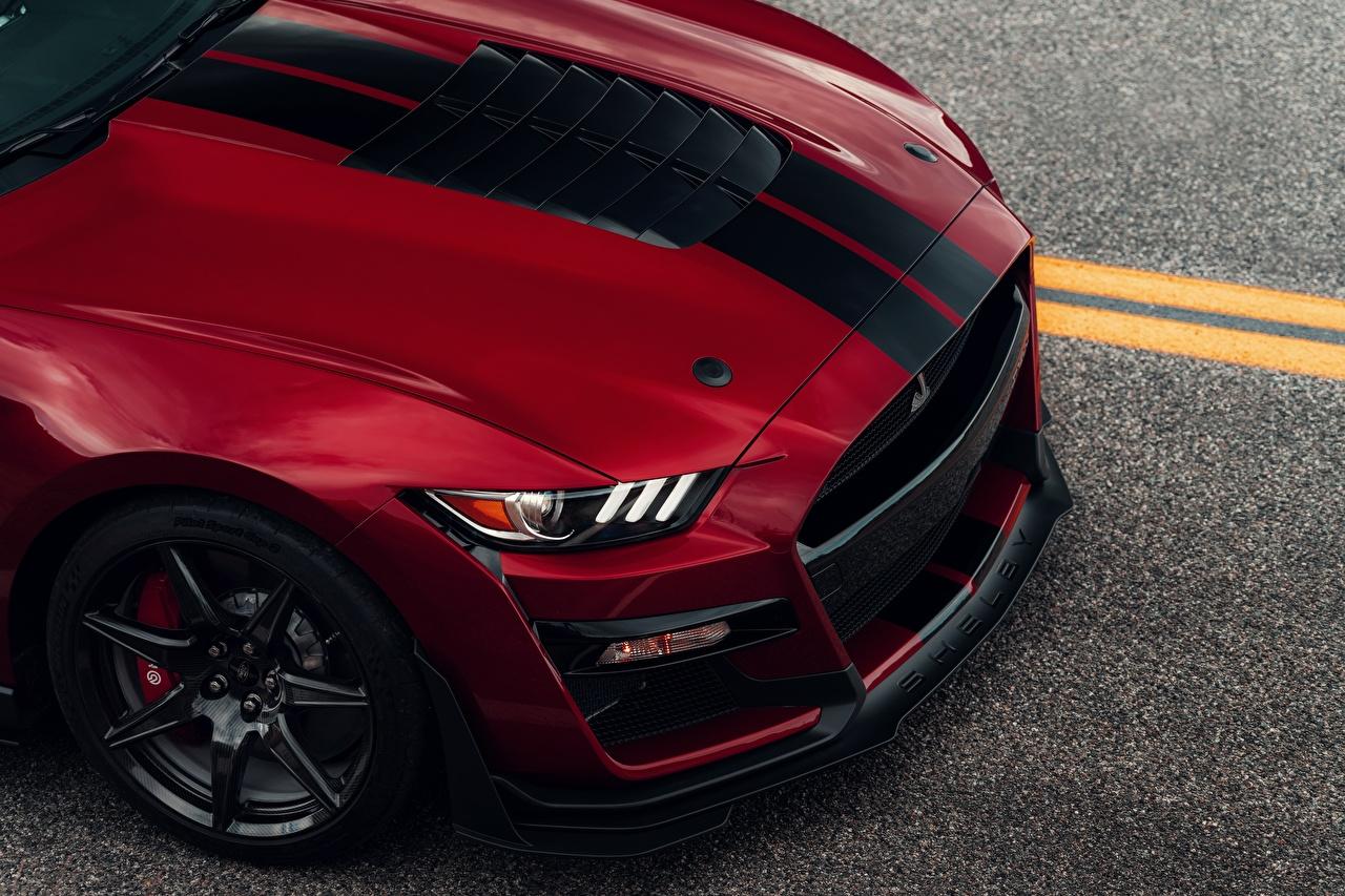 Картинки Форд Капот Mustang Shelby GT500 2019 красные авто Металлик полосатая Ford красная Красный красных машины машина Полоски полосатый Автомобили автомобиль