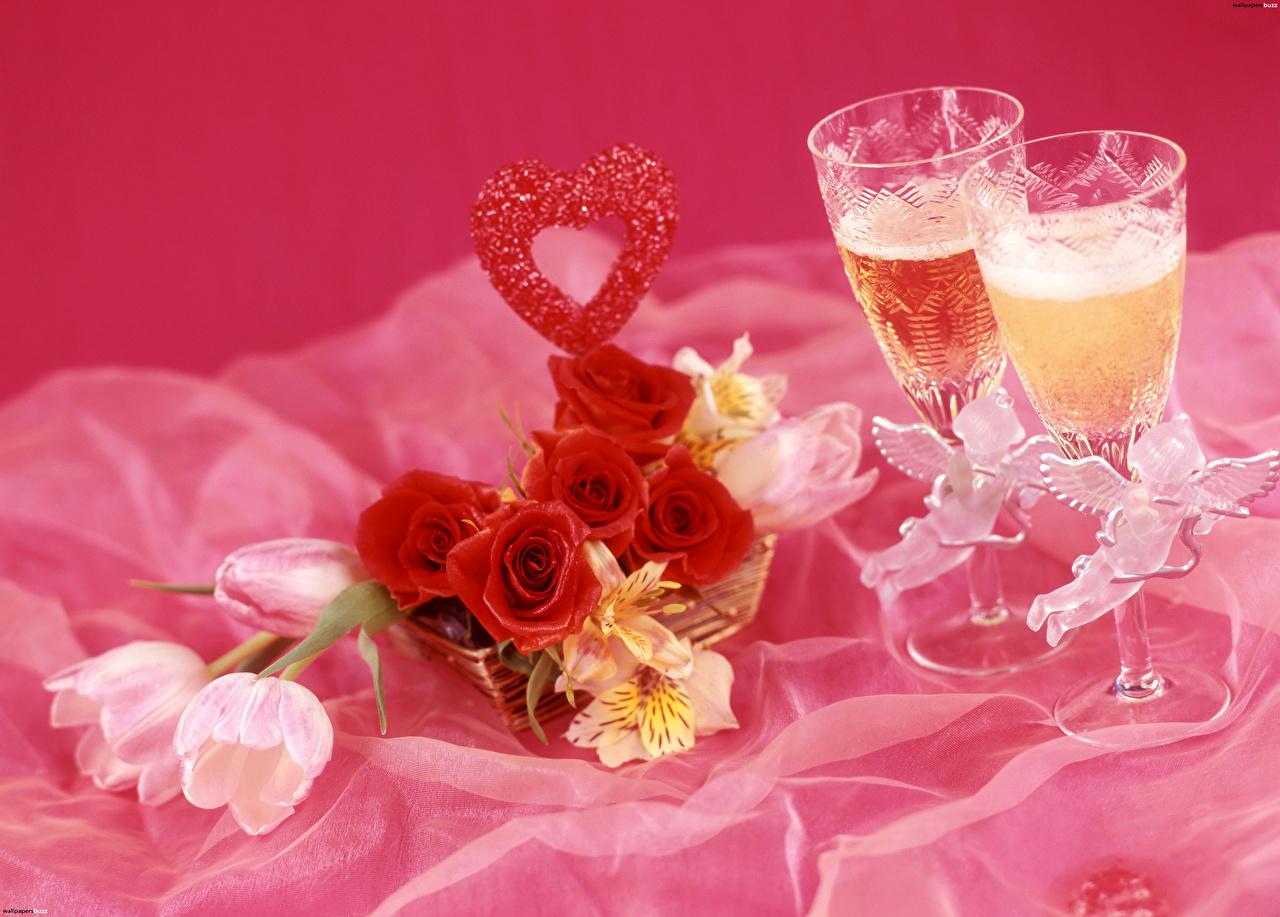 Фотография сердца роза Двое тюльпан Игристое вино Цветы Альстрёмерия Бокалы Продукты питания серце Сердце сердечко 2 два две Розы вдвоем Тюльпаны Шампанское цветок Еда Пища бокал