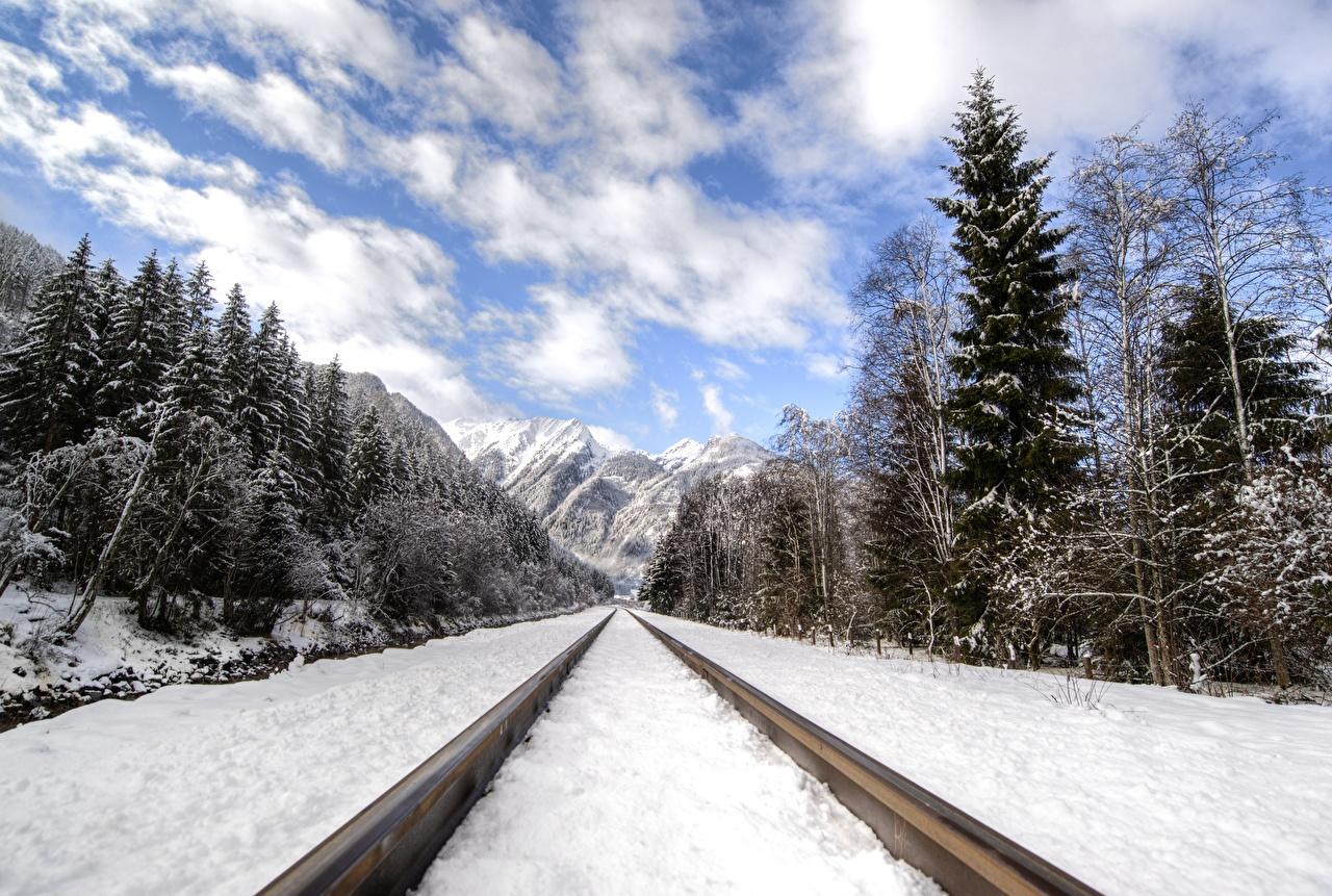 Фотография Рельсы гора Зима Природа Леса снеге Железные дороги рельсах Горы зимние лес Снег снега снегу