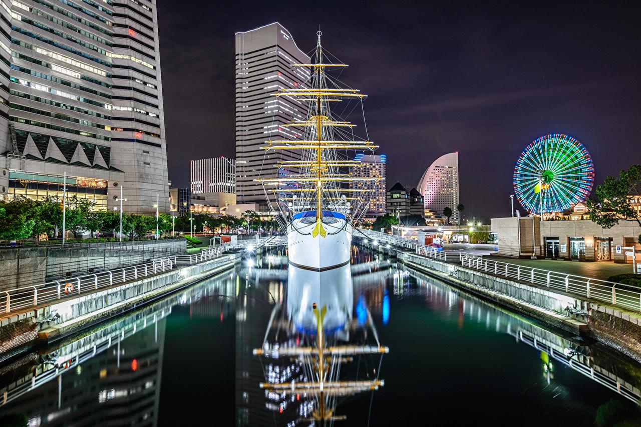 Обои для рабочего стола Токио Япония Nippon-maru корабль Парусные Дома Города Корабли город Здания