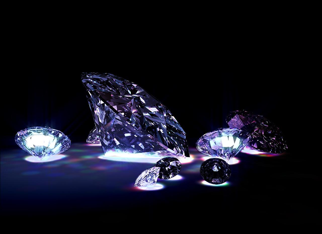 Фотографии Бриллиант на черном фоне алмаз обработанный Черный фон