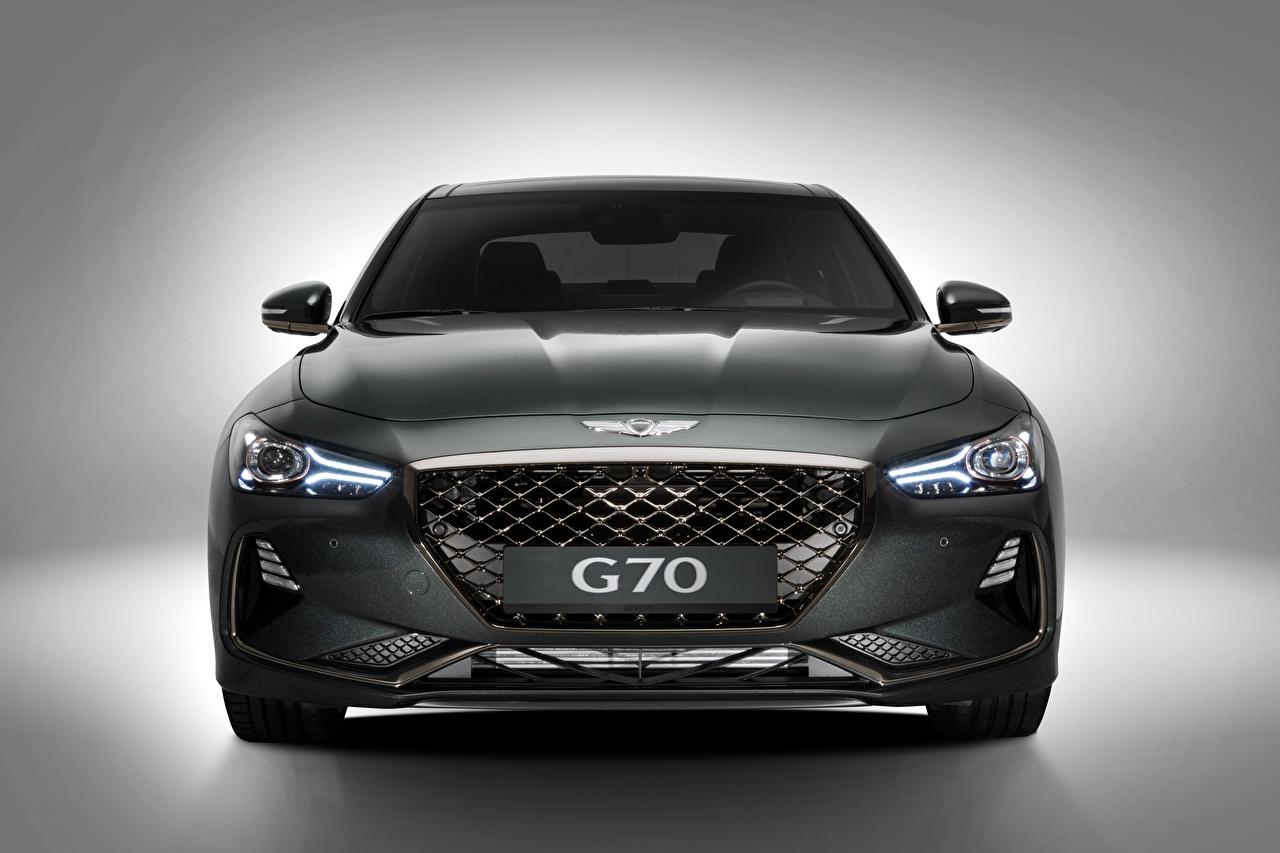 Обои для рабочего стола Hyundai Genesis 2019 G70 серые Спереди Металлик Автомобили Хендай серая Серый авто машины машина автомобиль