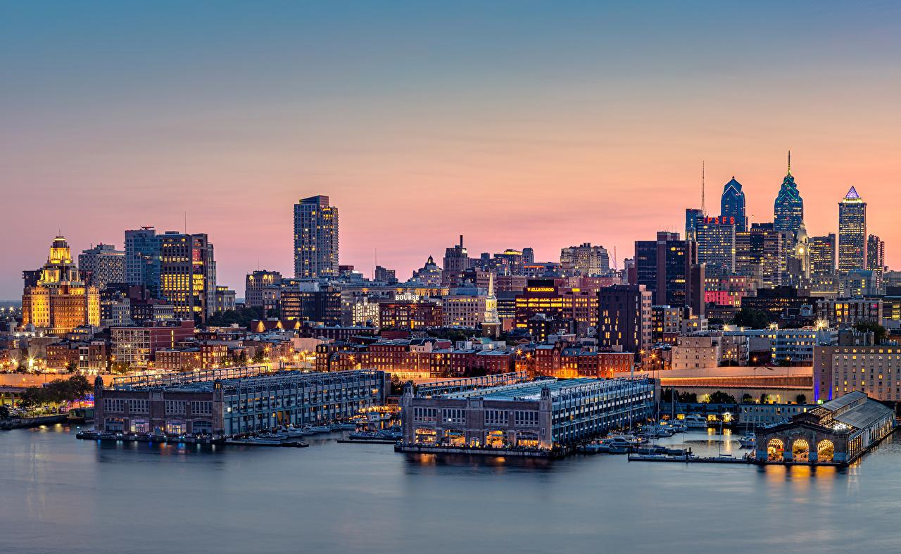 Фотографии Пенсильвания штаты Philadelphia Вечер Пирсы Дома Города США Причалы Пристань город Здания