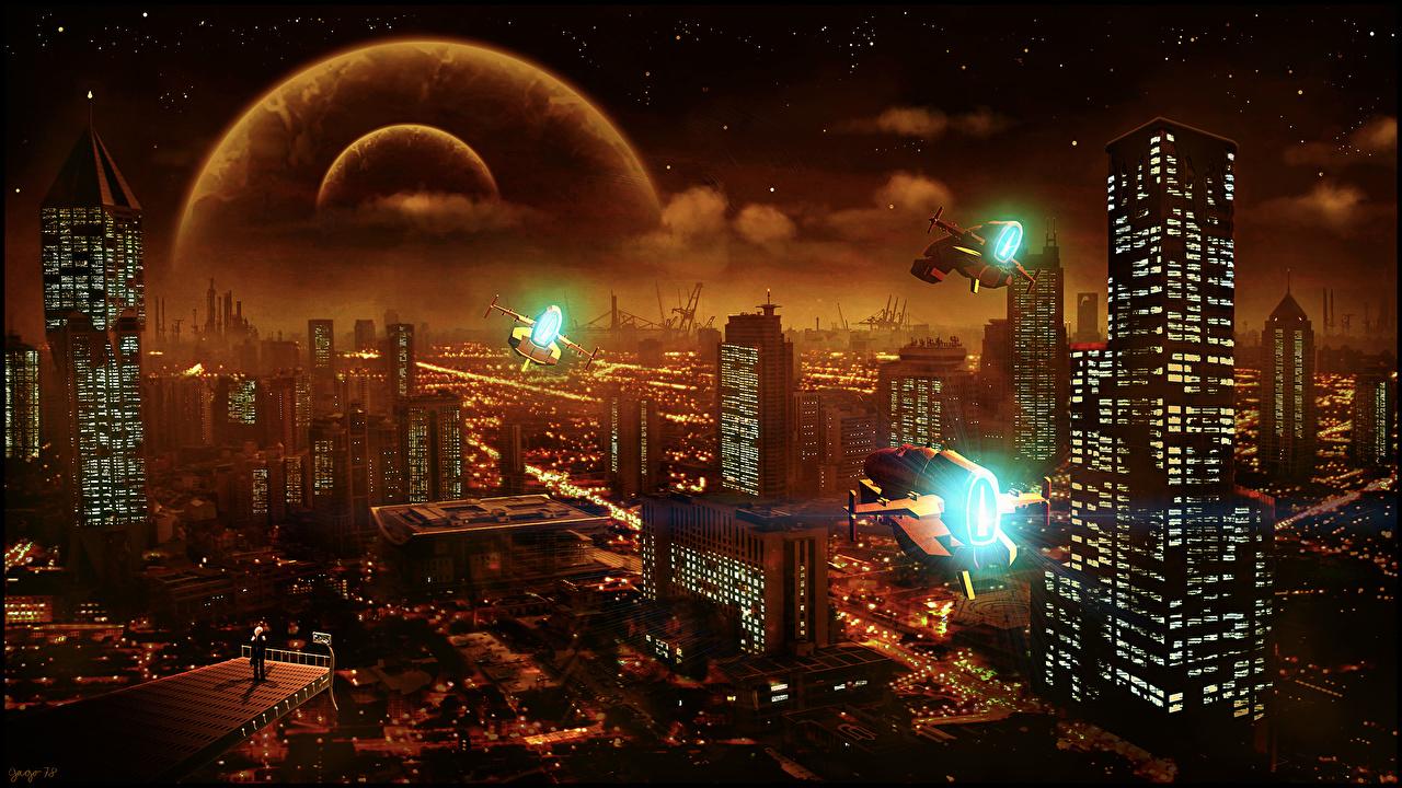 Фотографии планета мегаполиса Фэнтези Сверху Небоскребы Фантастический мир Дома город Планеты Мегаполис Фантастика Здания Города