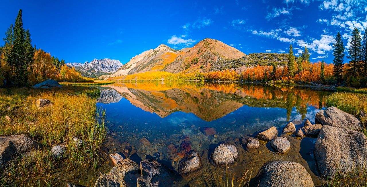Фотографии калифорнии США Панорама Горы осенние Природа Пейзаж Камень Калифорния штаты америка панорамная гора Осень Камни