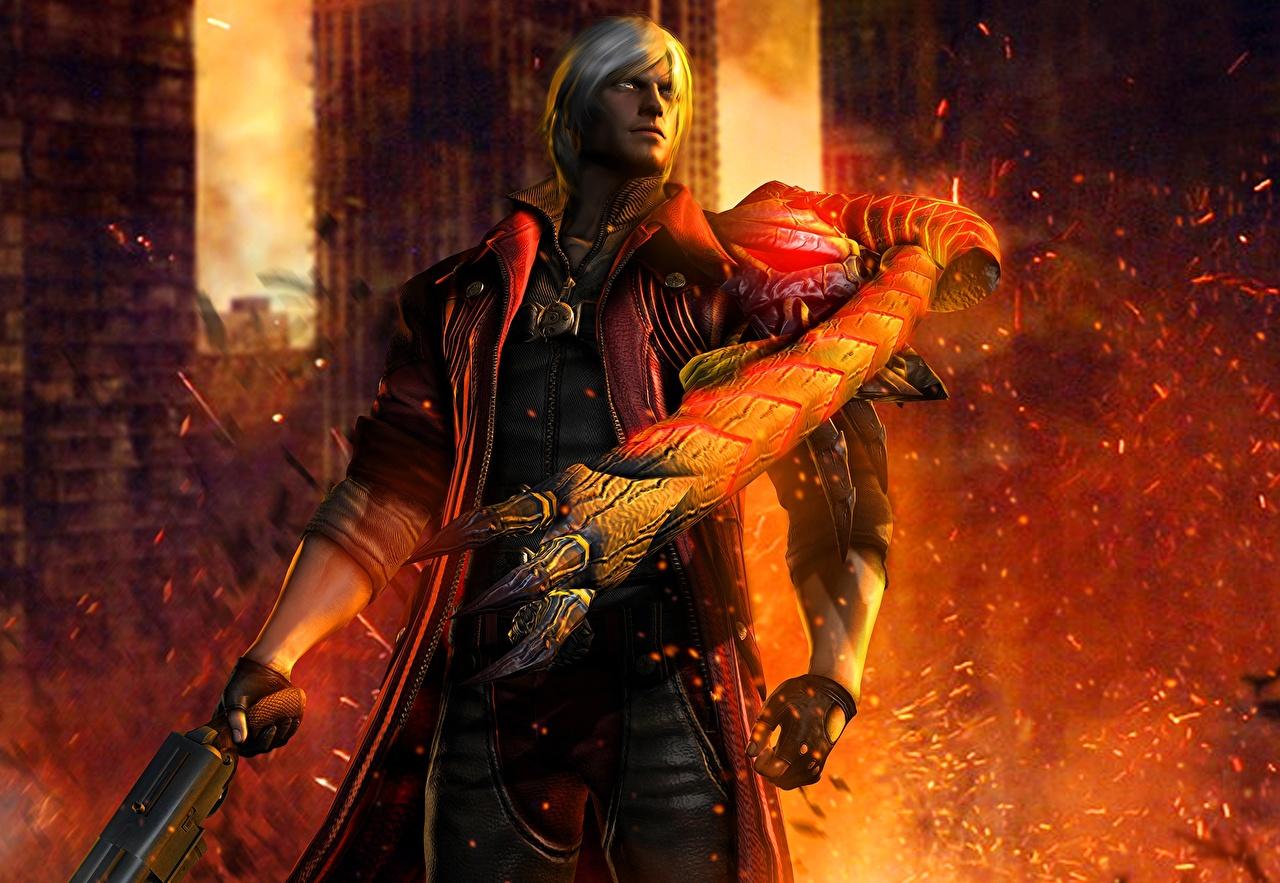 Фото Данте Devil May Cry монстр Мужчины lucifer dante 3д пламя компьютерная игра Монстры чудовище мужчина 3D Графика Игры Огонь