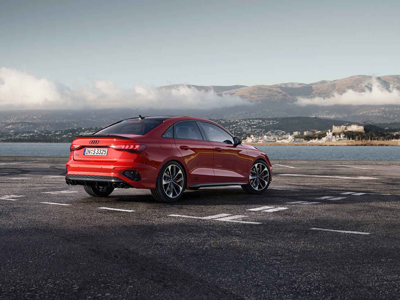 Картинки Ауди S3 Sedan, 2020 красных Сбоку машина Металлик Audi красная красные Красный авто машины Автомобили автомобиль