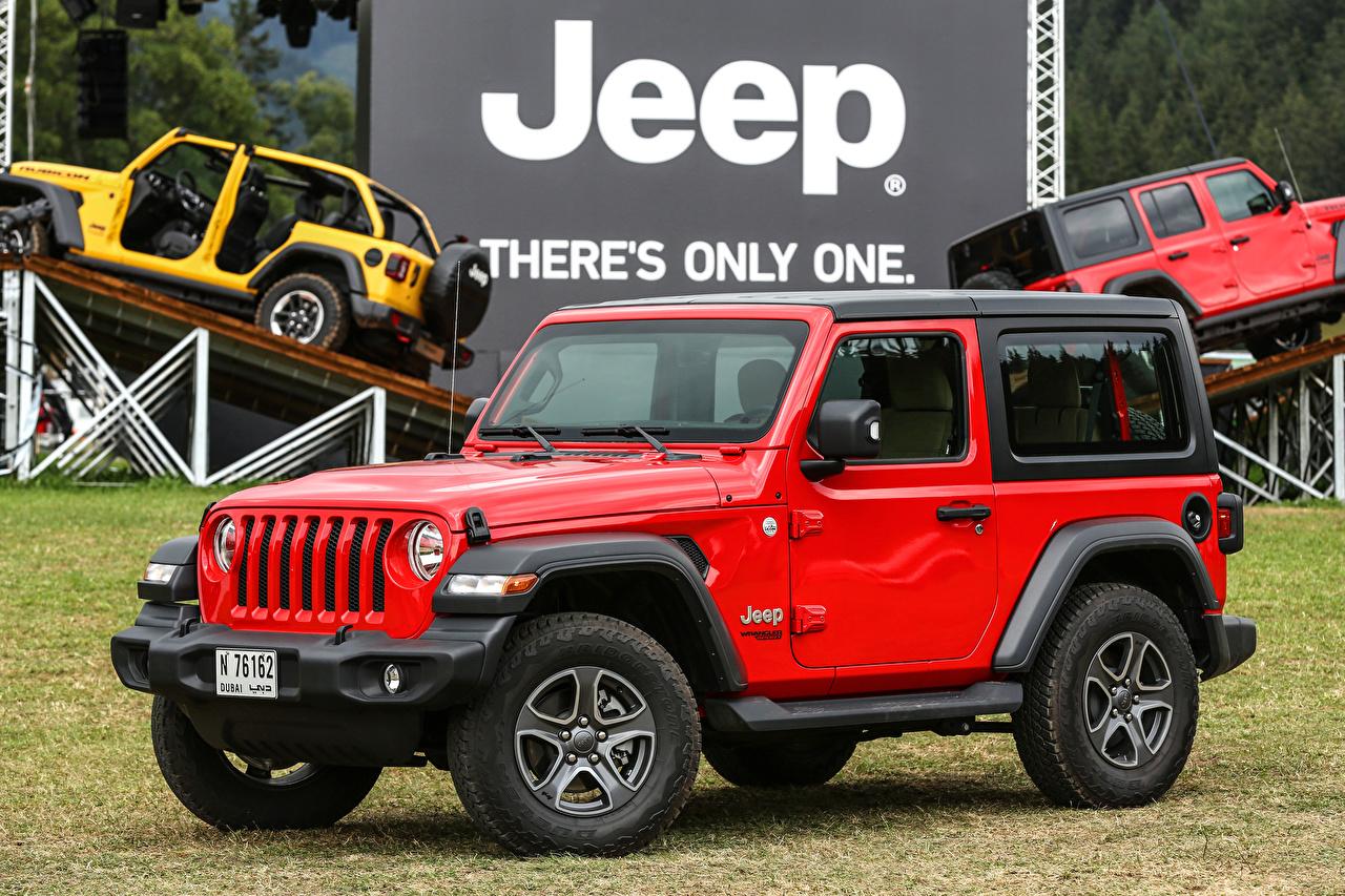 Обои Jeep Внедорожник 2018-19 Wrangler Sport Красный Авто Джип SUV Машины Автомобили